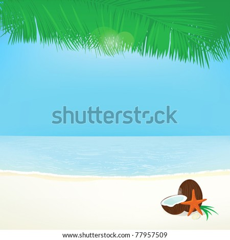 background palm leafs coconut, and star, summer vacation - stock vector