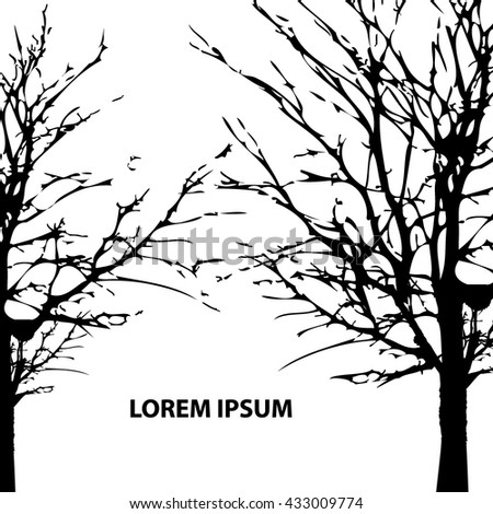 Background Park trees silhouette. Vector - stock vector