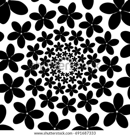 Background, pattern, black and white spiral pattern. Round centered Halftone illustration. Flower, petals, holiday, woman.
