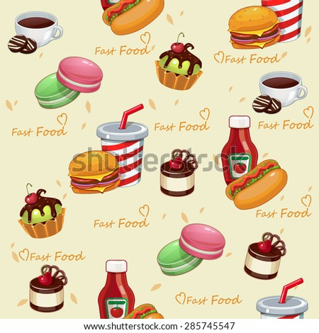 Background pattern fast food vector illustration (seamless texture)