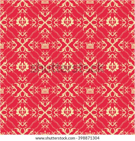 Background Pattern. Line Design. Seamless Pattern. Endless Texture. Modern Pattern. Vintage Style. Vector Background. Decorative Wallpaper for Walls, Web Page Background. Red Color - stock vector
