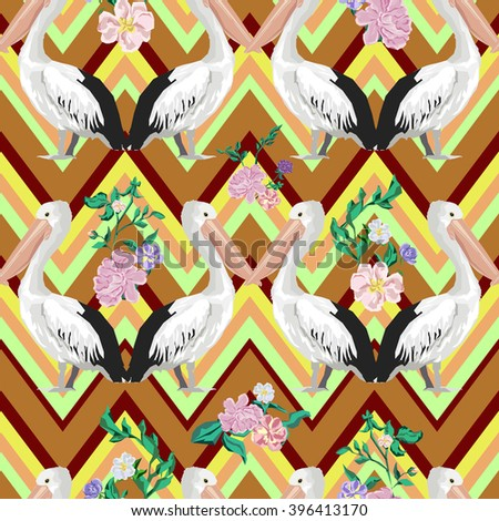 Background pelican and flowers, textile design, print fabric. - stock vector