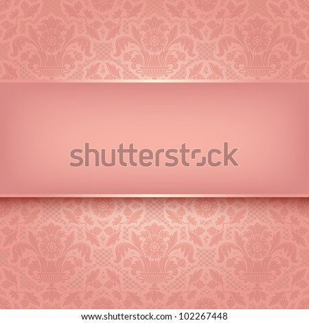 Background pink ornamental fabric texture. Can be used for invitations to any of your ceremony. Vector eps10 - stock vector