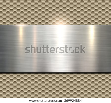 Background, polished beige metal texture, vector. - stock vector
