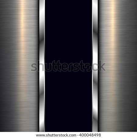 Background, polished metal texture with banner, vector design. - stock vector