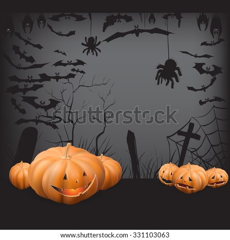 background, pumpkin trees grave spiders, bats halloween set, vector illustration hanging upside down and in flight, to print labels and office decoration, crafts, template