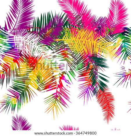 Background rainbow colored palms trees. Vector - stock vector