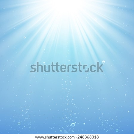 background rays of light under water - stock vector