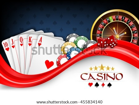 Background red white poker cards, casino chips and roulette wheel.Vector