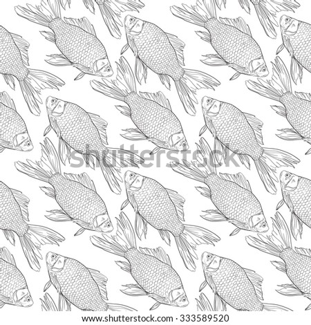 Background seamless pattern with crucian hand drawn with ink in comics style. Gold fish.