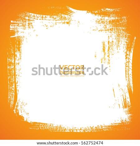 Background smear paint bristle brush on orange - stock vector
