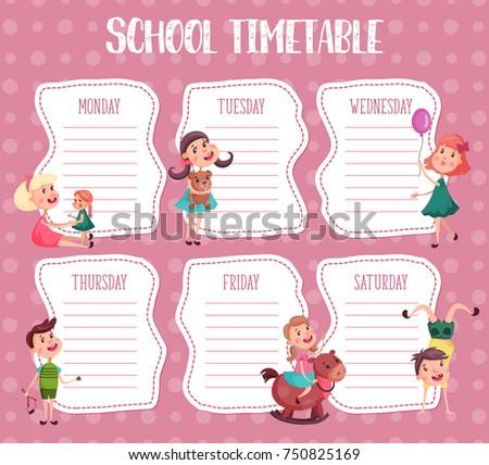 Background Template School Timetable Boy Catapult Stock-Vektorgrafik ...