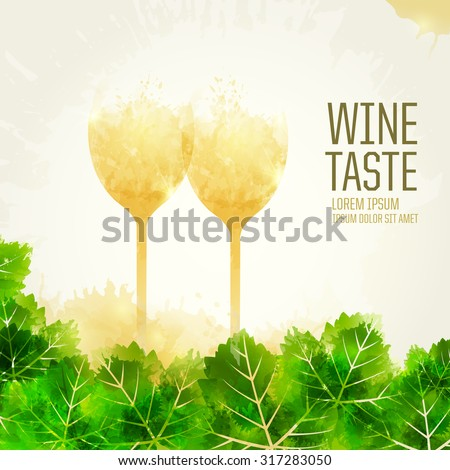 Background template with vine leaves and wine stains. vector. Illustration glass of wine. Expressive design background. vector - stock vector
