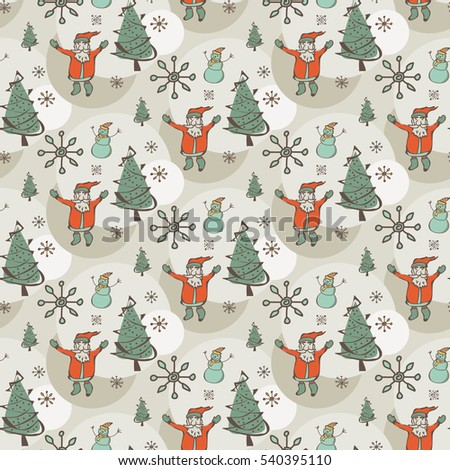 Background texture new year and merry christmas with santa, tree and snowman