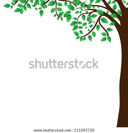 Background tree branch with fresh green leafs - stock vector