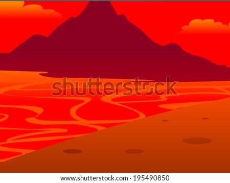 Background volcanoes cartoon vector - stock vector