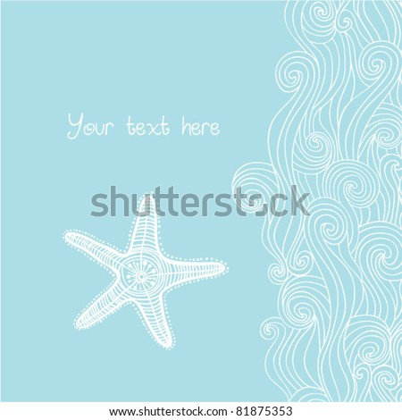 Background waves and starfish, maritime pattern. Ocean texture. - stock vector