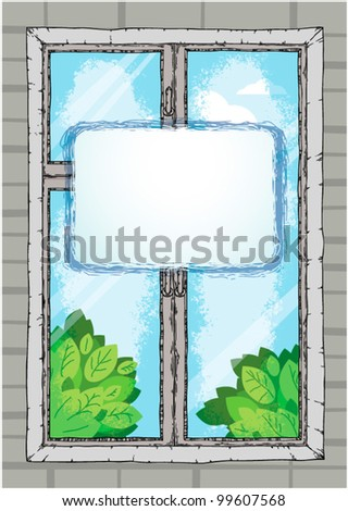 background window on the wall - stock vector