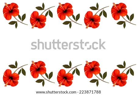 Background with a border of red flowers. Vector. - stock vector