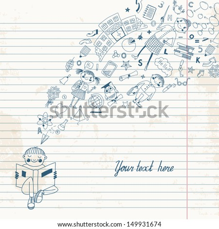 Background with a boy reading a book and receiving knowledge in the style of the cartoon. Vector illustration. - stock vector