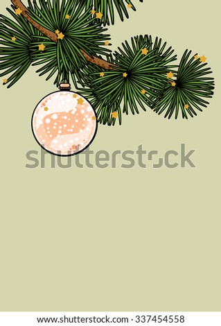 Background with a branch of a decorated Christmas tree - stock vector