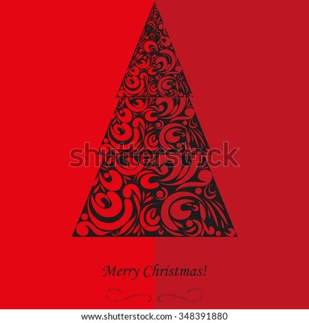 Background with a Christmas tree. - stock vector