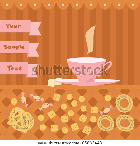 background with a cup of tea - stock vector