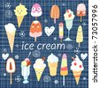 background with a different ice cream - stock vector