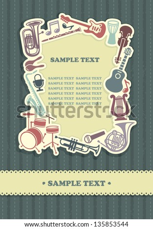 Background with a framework from musical instruments - stock vector