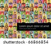 Background with a group of business and office people photos. Vector Icons. - stock vector