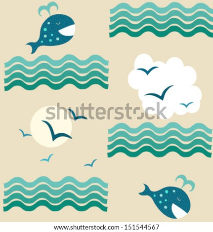 Background with a happy whale and seagulls