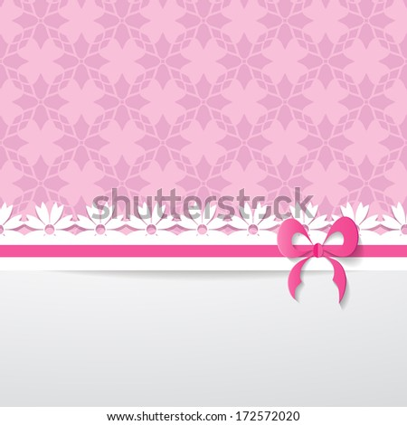 background with a pattern, a paper ribbon and a white space  - stock vector