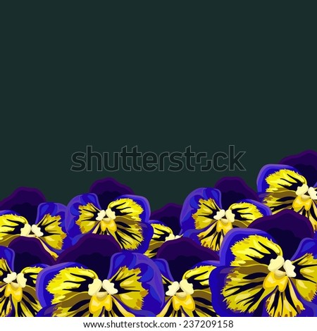 Background with a pattern of purple, yellow pansies - stock vector