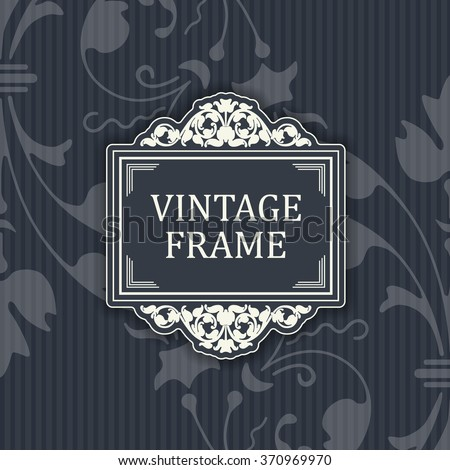 Background with a pattern vintage style with frame - stock vector