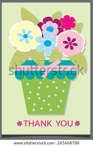 background with a pot of flowers with bow and with the text thank you, paper - stock vector
