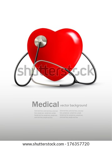 Background with a stethoscope and a heart. Vector.  - stock vector