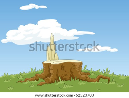 Background with a stump and grass, vector