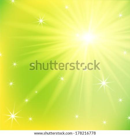 Background with a summer sun burst. Vector illustration. - stock vector