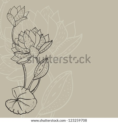 background with a water lily drawn by contour line. Vector illustration. - stock vector