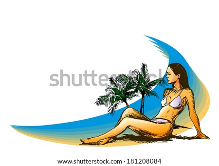 Background with a woman on the beach. Vector illustration - stock vector