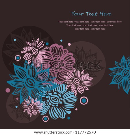 Background with abstract  flowers - stock vector