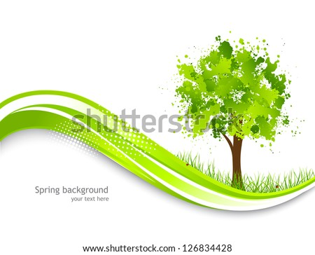 Background with abstract green tree - stock vector