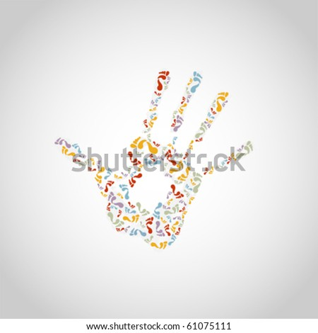 background with abstract hand print, vector  illustration - stock vector