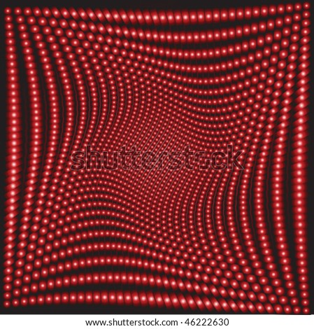 Background with abstract red balls, optical effect