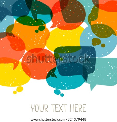 Background with abstract retro grunge speech bubbles. - stock vector