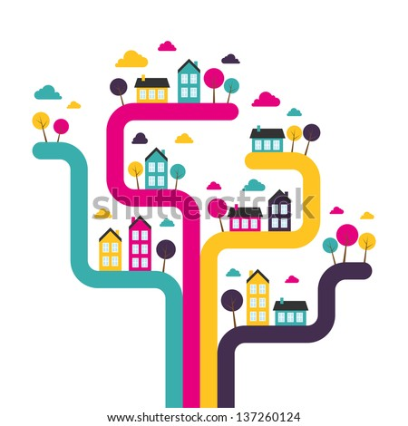 Background with abstract town. Vector illustration. - stock vector
