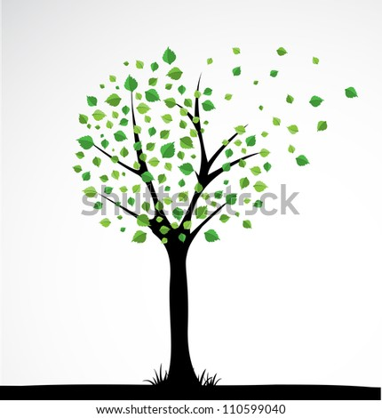 Background with abstract tree. Vector - stock vector