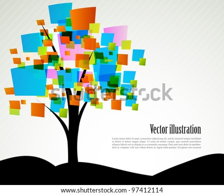 Background with abstract tree with color squares - stock vector