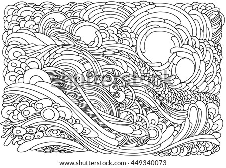 Background Abstract Waves Black White Doodle Stock Vector ...