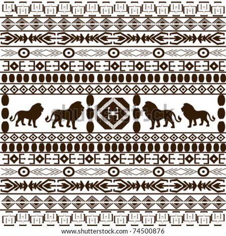 Background with African ethnic motifs and animals silhouettes - stock vector